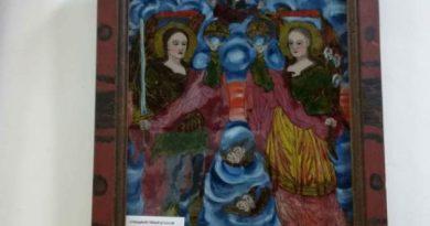 fintii arhangheli mihail si gavriil icoana pe sticla muzeul de arta populara constanta