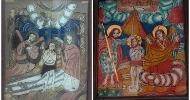 icoana pe sticla botezul domnului muzeul de arta populara constanta
