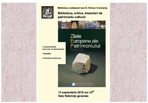 zilele europene ale patrimoniului biblioteca judeteana constanta afis
